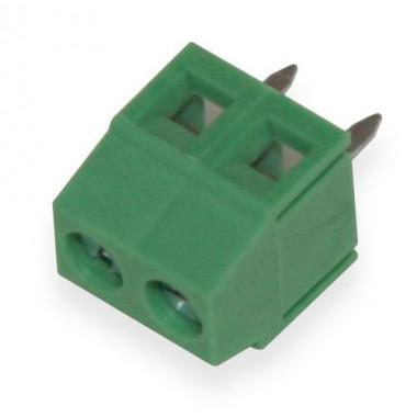 Клеммник винтовой 2 пина (Зеленый)