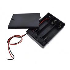 Контейнер для аккумуляторов АА 3 батарейки с крышкой и выключателем