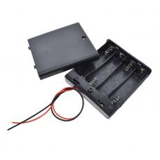 Контейнер для аккумуляторов АА 4 батарейки с крышкой и выключателем